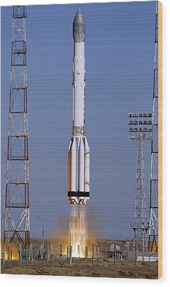 Launch Of Proton-k Rocket Wood Print by Ria Novosti