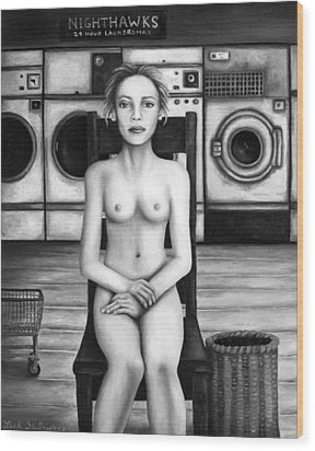 Laundry Day 5 In Bw Wood Print by Leah Saulnier The Painting Maniac