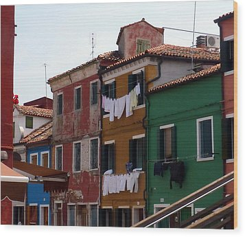 Laundry Day In Burano Wood Print by Carla Parris