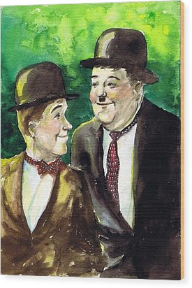 Laurel And Hardy Wood Print by Mel Thompson
