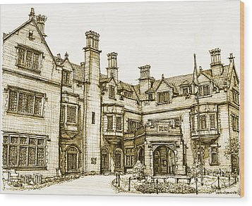 Laurel Hall In Sepia Wood Print by Adendorff Design