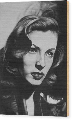 Lauren Bacall Wood Print by Steve Hunter