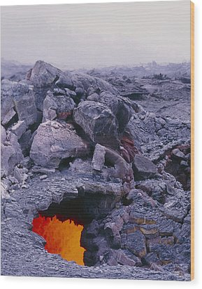 Lava Tube, Kilauea Volcano, Hawaii Wood Print by G. Brad Lewis