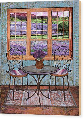 Lavender Bistro Wood Print by Mary Ogle