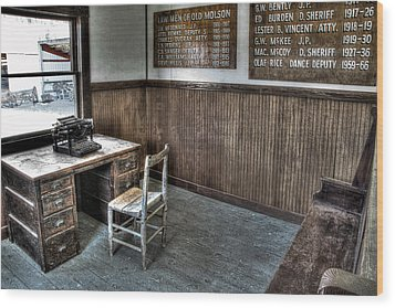 Law Man's Office - Molson Ghost Town Wood Print by Daniel Hagerman