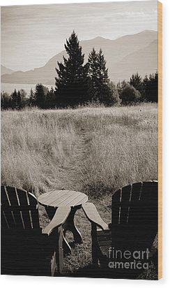 Lawn Chair View Of Field Wood Print by Darcy Michaelchuk