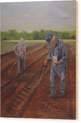 Wood Print featuring the painting Laying Off Rows by Carol Berning