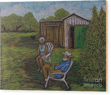 Lazy Day On The Farm Wood Print by Reb Frost