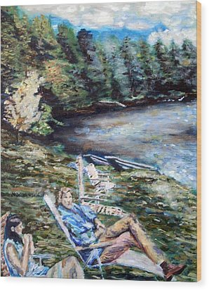 Wood Print featuring the painting Lazy Day On The Mill Pond by Denny Morreale