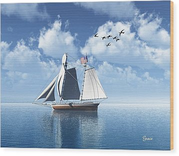 Lazy Day Sail Wood Print