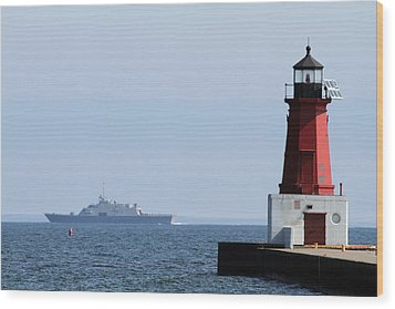 Wood Print featuring the photograph Lcs3 Uss Fort Worth By The Menominee Lighthouse by Mark J Seefeldt