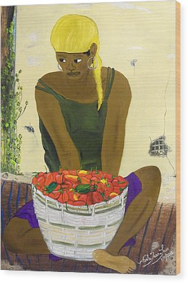 Le Piment Rouge D' Haiti Wood Print by Nicole Jean-Louis