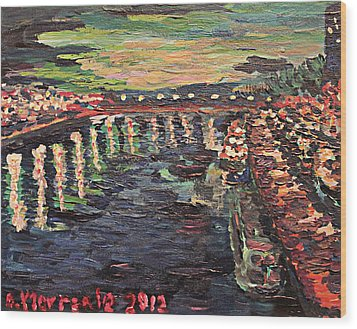 Wood Print featuring the painting Le Seine De Nuit by Denny Morreale