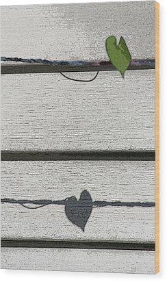 Wood Print featuring the digital art Leaf Shadow by Holly Ethan