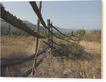 Leaning Fence  Wood Print by Jeannine Welfelt