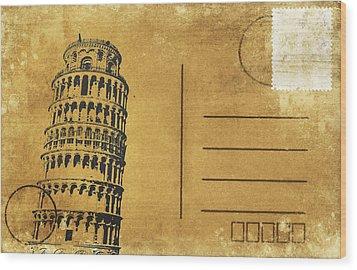 Leaning Tower Of Pisa Postcard Wood Print by Setsiri Silapasuwanchai