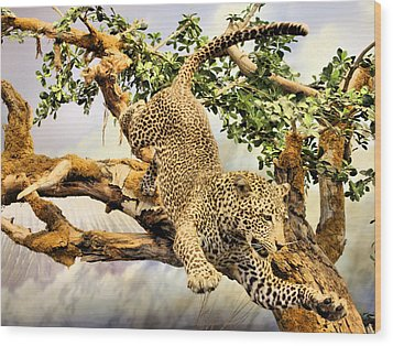 Leaping Leopard Wood Print by Kristin Elmquist