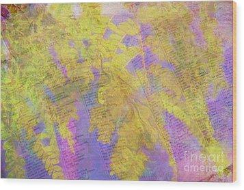 Leaves . . . Trees And Books Wood Print by Judi Bagwell