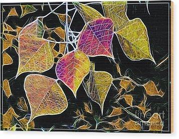 Leaves Wood Print by Judi Bagwell