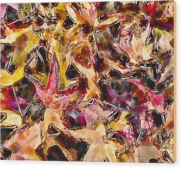 Leaves On Acid Wood Print by Marilyn Sholin