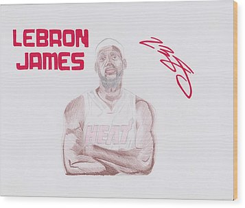 Lebron James Wood Print by Toni Jaso