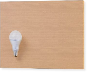 Led Bulb Wood Print by sozaijiten/Datacraft
