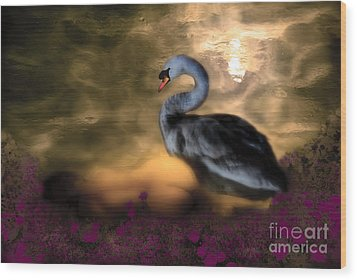 Wood Print featuring the digital art Leda And The Swan by Rosa Cobos