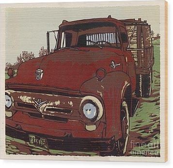 Leeser's Truck - Linocut Print Wood Print by Annie Laurie