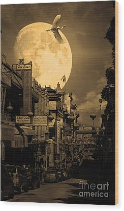 Legend Of The Great White Phoenix Of Chinatown . 7d7172 . Sepia Wood Print by Wingsdomain Art and Photography
