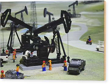 Lego Oil Pumpjacks Wood Print by Ricky Barnard