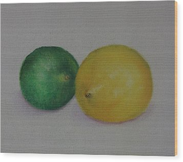 Lemon And Lime Wood Print by Loueen Morrison