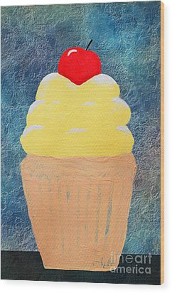 Lemon Cupcake With A Cherry On Top Wood Print by Andee Design