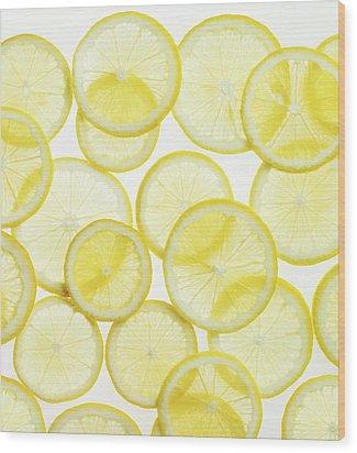 Lemon Slices Arranged In Pattern Wood Print
