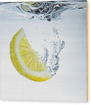 Lemon Water Wood Print by Silvio Schoisswohl
