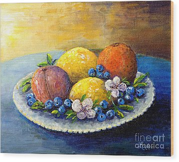 Wood Print featuring the painting Lemons And Blueberries by Lou Ann Bagnall