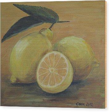 Lemons Wood Print by Ema Dolinar Lovsin