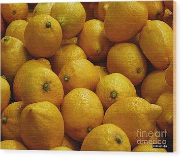 Lemons Wood Print by Methune Hively