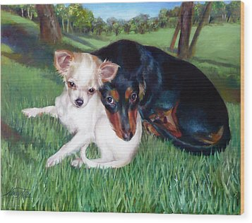 Wood Print featuring the painting Lena And Peanut by Nancy Tilles