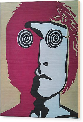 Lennon Wood Print by Kenny Cannon