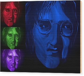 Lennon The Legend Wood Print by Mark Moore