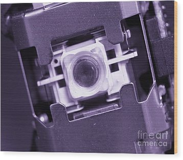 Lens Of A Cd Player Wood Print by Yali Shi