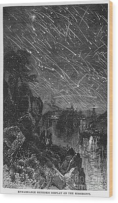 Leonid Meteor Shower, 1833 Wood Print by Granger