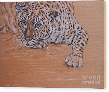 Wood Print featuring the pastel Leopard 1 by Amanda Dinan