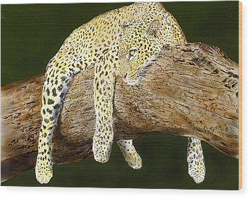 Leopard At Rest Wood Print by Yvonne Scott
