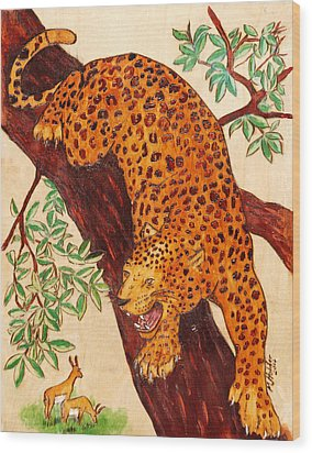 Leopard Wood Print by Mike Holder