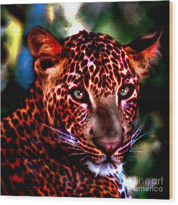 Wood Print featuring the painting Leopard Portrait by Elinor Mavor