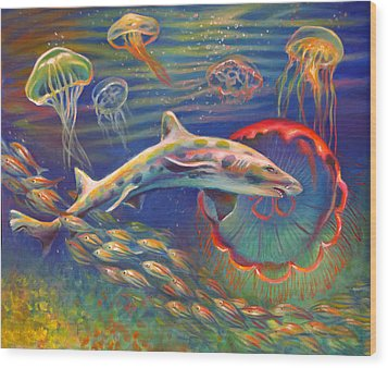 Wood Print featuring the painting Leopard Shark And Jellyfish by Nancy Tilles
