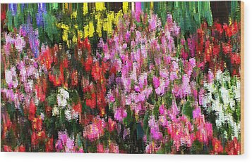 Wood Print featuring the mixed media Les Fleurs by Terence Morrissey