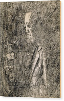 Lester Young Wood Print by Mel Thompson