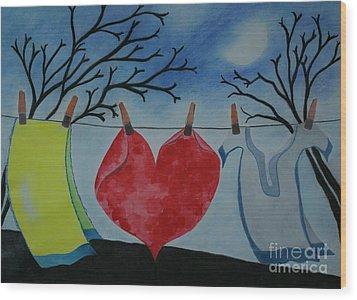 Lets Wash Heart Wood Print by Jalal Gilani